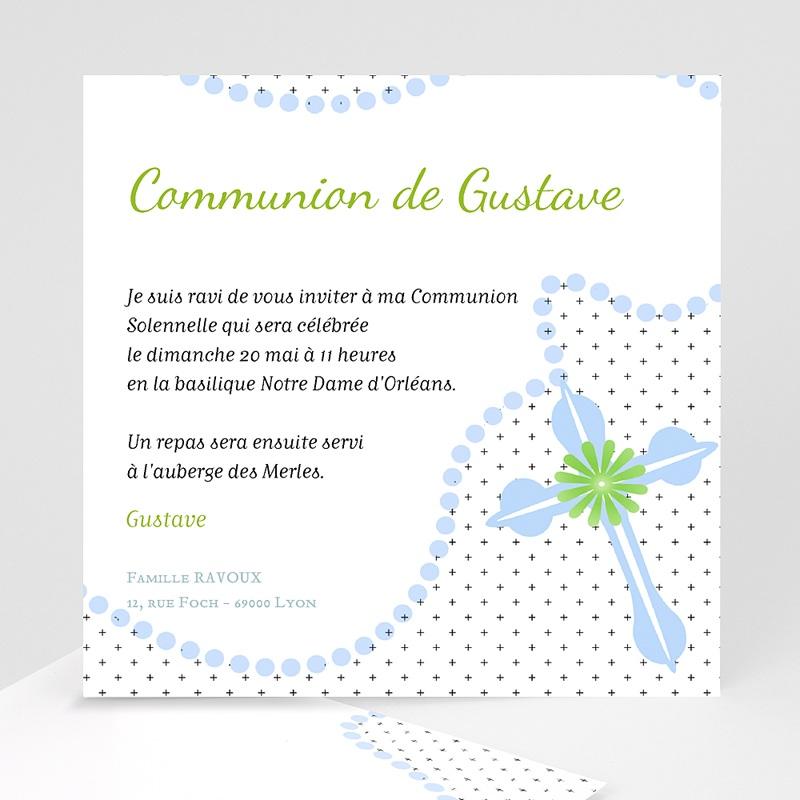 Faire-Part Communion Garçon Rosaire Bleu