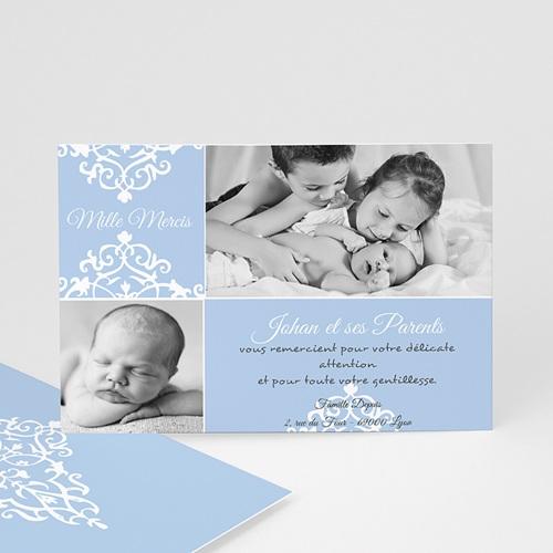 Carte Remerciement Naissance Garçon Design Royal - Merci