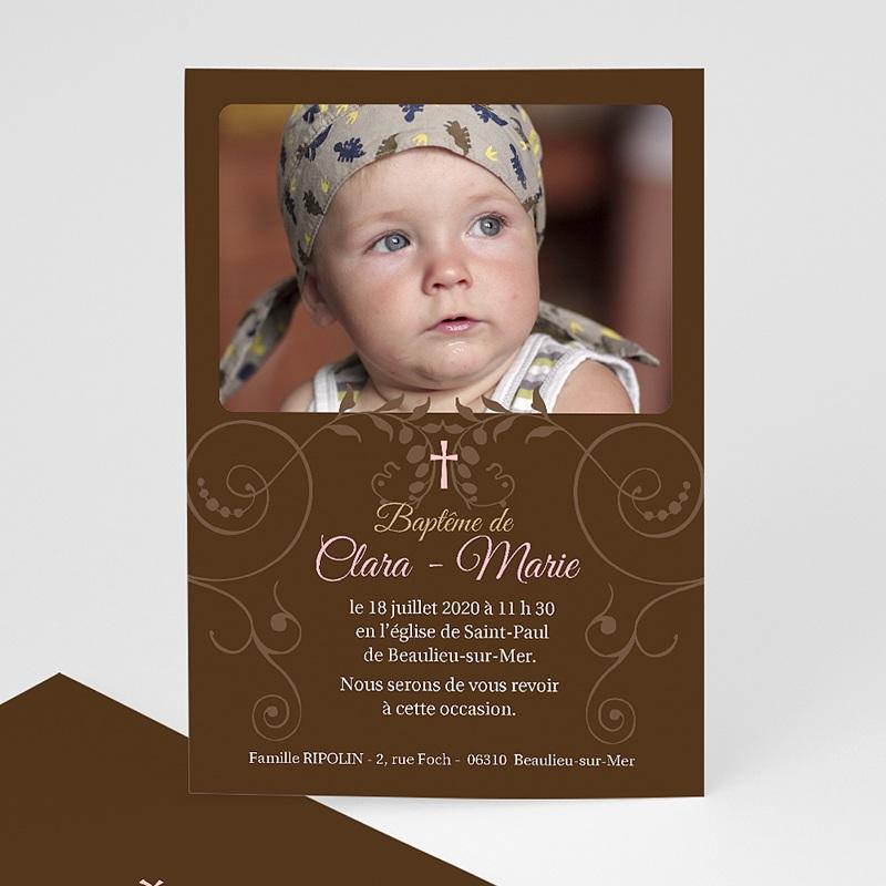 Faire-part Baptême Fille - Baptismal Marron 12751 thumb
