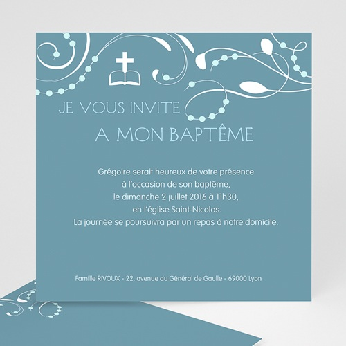Faire-part Baptême Garçon - Sanctus Bleu 12757 thumb