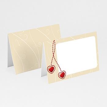 Création faire-part mariage pendentifs coeurs rouges