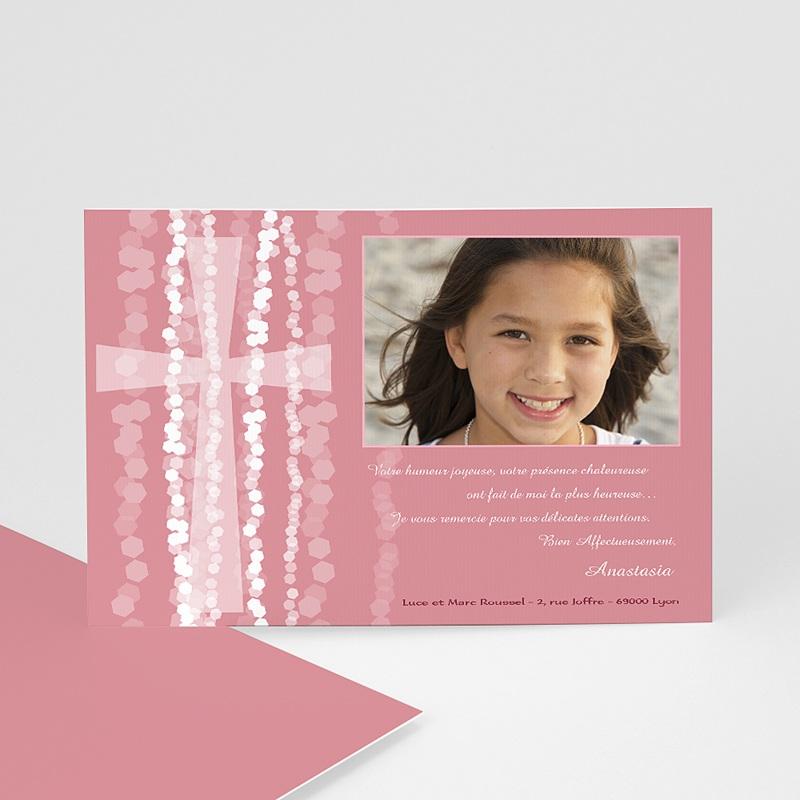 Carte Remerciement Communion Fille Croix Contemporaine Rose