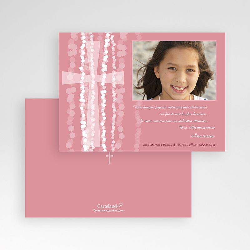 Carte Remerciement Communion Fille Croix Contemporaine Rose pas cher