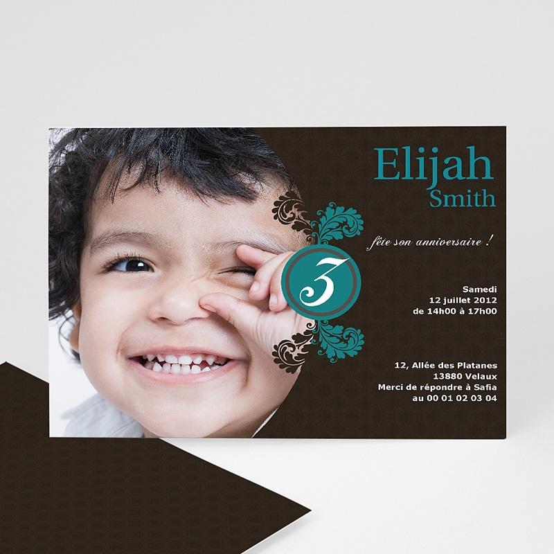 Invitation Anniversaire Enfant - Trois Feuilles Bleues 1306 thumb
