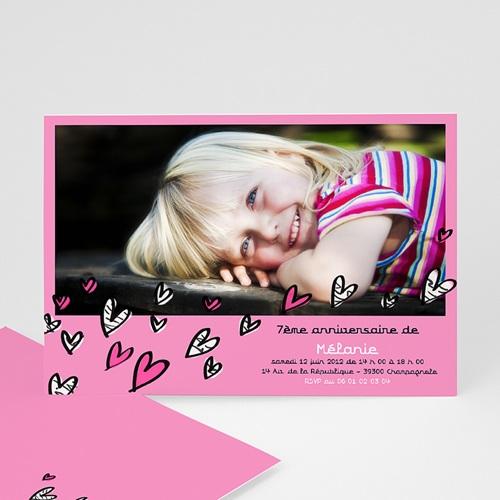 Carte invitation anniversaire fille Coeurs bariolés