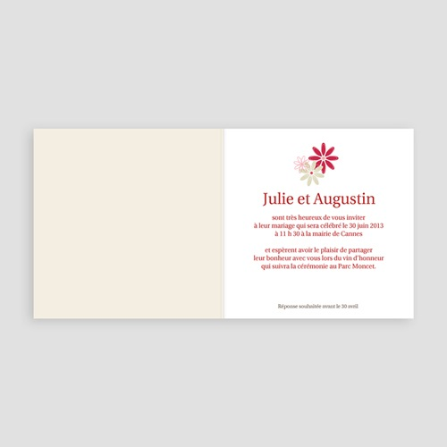 Faire-Part Mariage Rouge et Blanc Fleurs des Champs pas cher