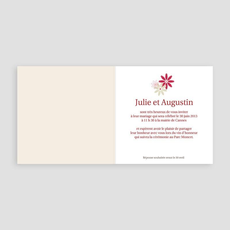Faire part mariage rouge et blanc - Fleurs des Champs 13132 thumb