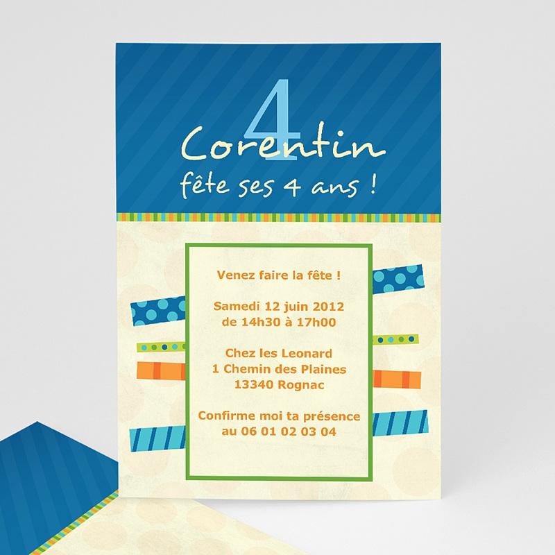 Carte invitation anniversaire garçon 4 ans Bleu Jaune