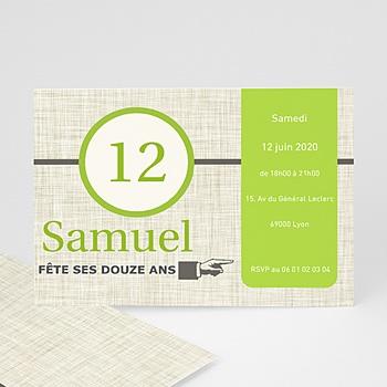 Carte invitation anniversaire garçon Citron Vert