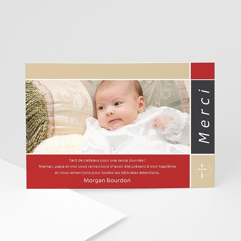 Carte Remerciement Baptême Garçon Croix  de Baptême - Rouge et Beige
