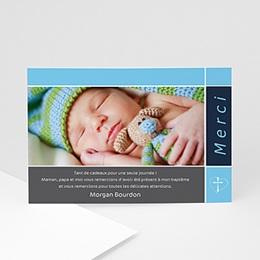 Carte remerciement baptême fille Croix et dragées Baptême - beige