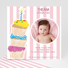 Invitations Anniversaire Fille - 3 bougies et 3 muffins - 3