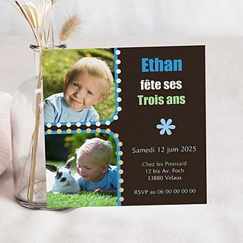 Carte invitation anniversaire garçon 1,2,3 soleil
