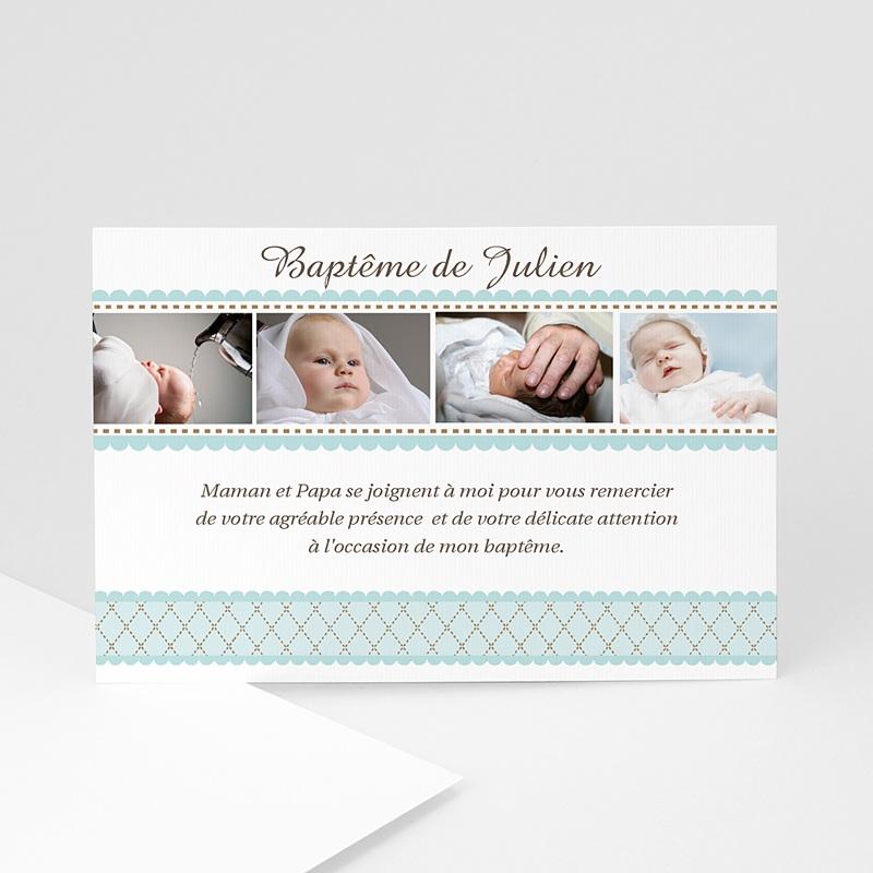 Carte Remerciement Baptême Garçon  Un brin désuet - Bleu