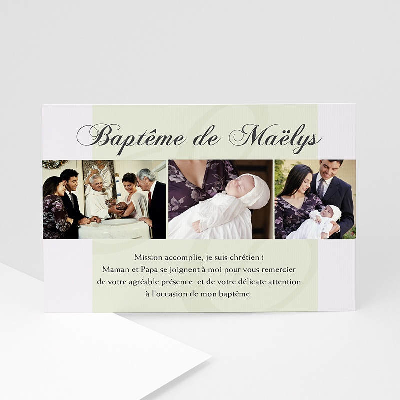 Carte remerciement baptême garçon Trois Photos Maelys
