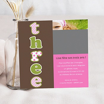 Carte invitation anniversaire fille Trois ans- Three - Drei - rose