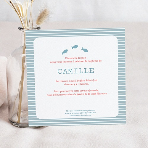 Faire-part Baptême Fille - Marin Coquillage 14145 preview