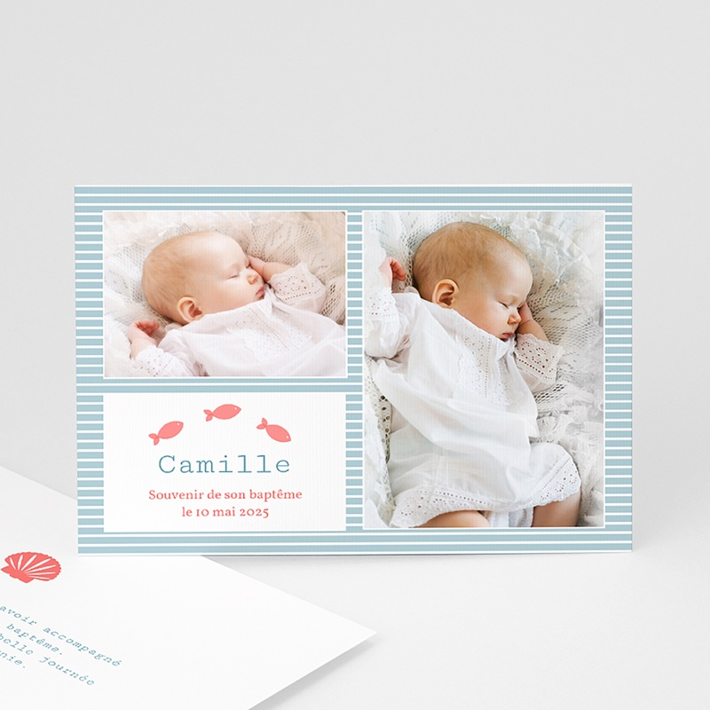 Carte Remerciement Baptême Garçon Mille Marin