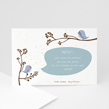 Carte remerciement naissance garçon piou piou - bleu sur mesure