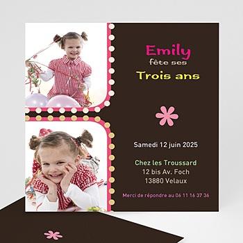 Carte invitation anniversaire fille 3 ans rose à personnaliser