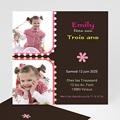 Carte invitation anniversaire fille 3 ans rose