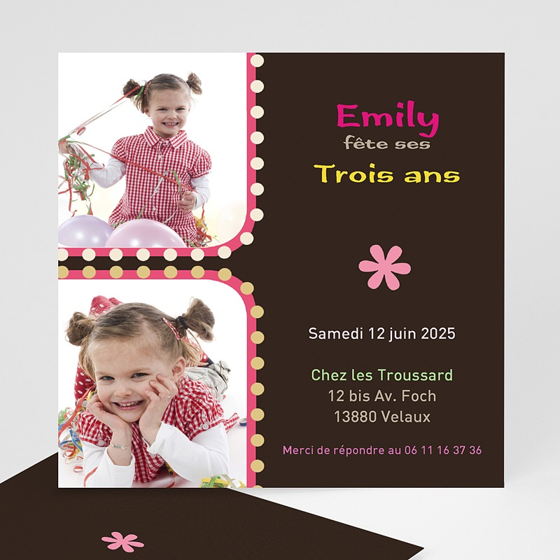 invitation anniversaire 3 ans fille rose. Black Bedroom Furniture Sets. Home Design Ideas