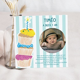 Carte invitation anniversaire garçon 1 an gâteau