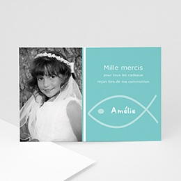 Carte remerciement communion fille Amélie