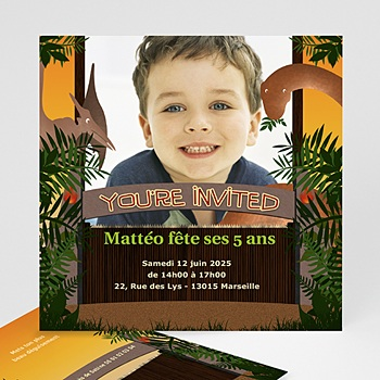 Carte invitation anniversaire garçon dinosaure jungle pas cher