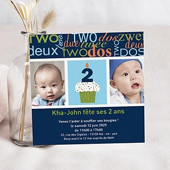 Carte invitation anniversaire garçon Deux Ans avec photo personnalisable