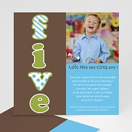 Carte invitation anniversaire garçon Cinq - Five - fünf - Bleu