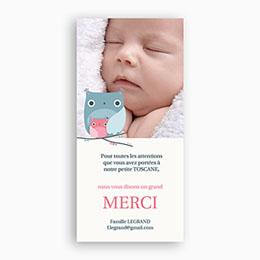 Carte remerciement naissance fille Chouette hibou