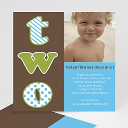 Invitations Anniversaire enfant 2 ans, 2 years, 2 yahre