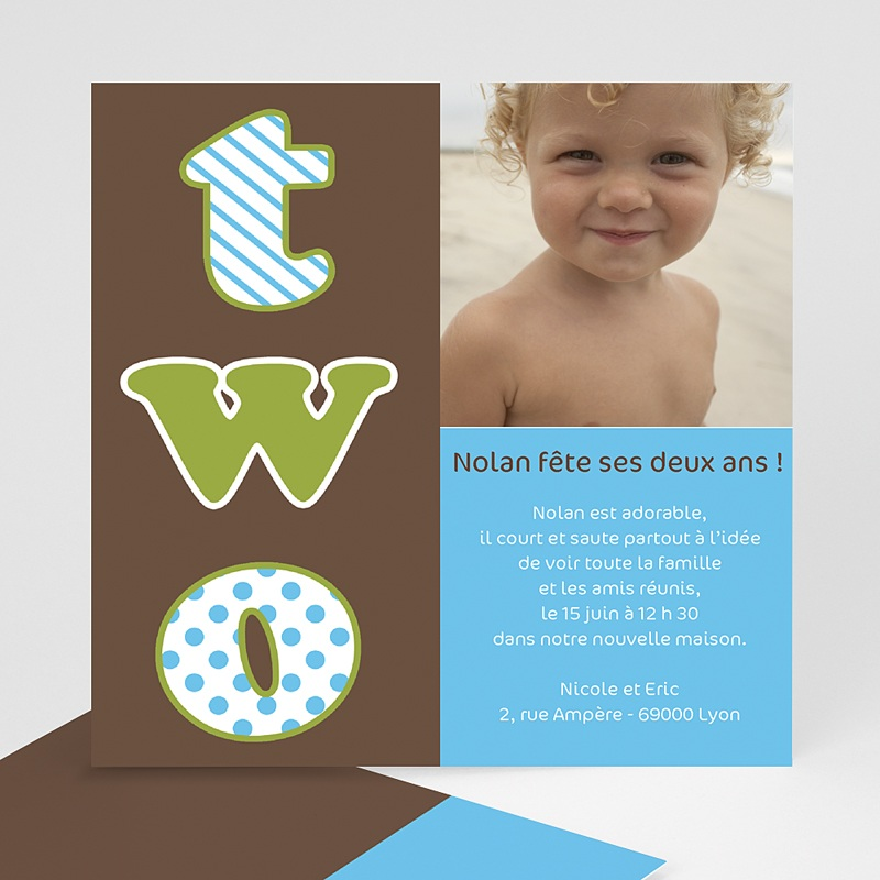 Carte invitation anniversaire garçon 2 ans, 2 years, 2 yahre