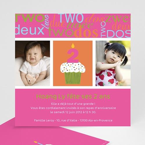 Carte invitation anniversaire fille Compte jusqu'à 2