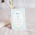 Carte Remerciement Baptême Garçon Médaillon motif rayé bleu