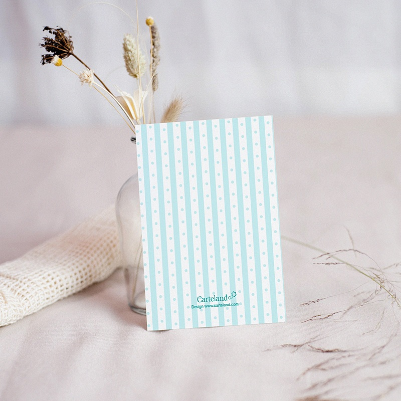Carte remerciement baptême garçon Médaillon motif rayé bleu pas cher