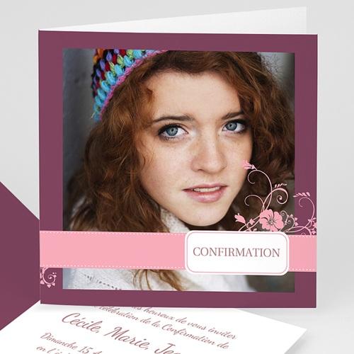 Carte Invitation Confirmation  Mauve, Bandeau Rose