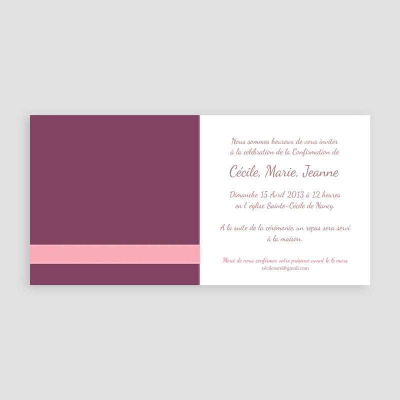 Invitation Confirmation  -  Mauve, Bandeau Rose 14591 thumb
