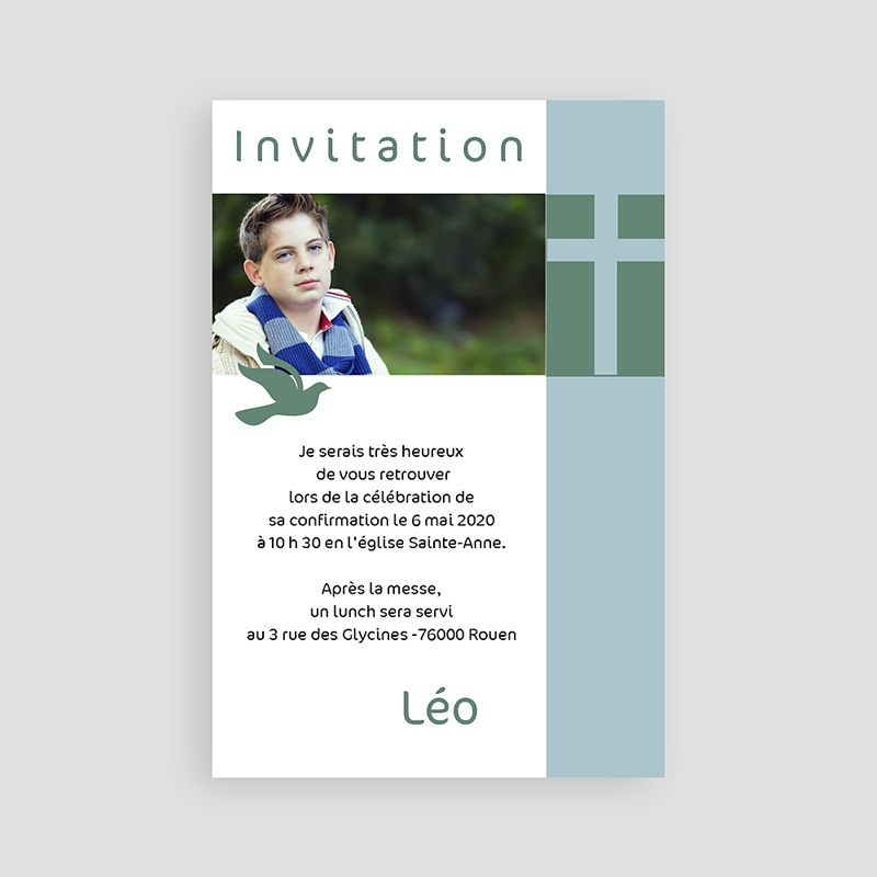 Carte Invitation Confirmation Date sacrée