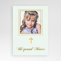 Carte remerciement communion fille Merci Classique - Vert pâle