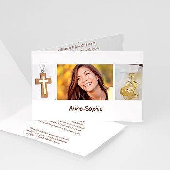 Invitation Confirmation  - Communion, Profession de foi - beige - 3