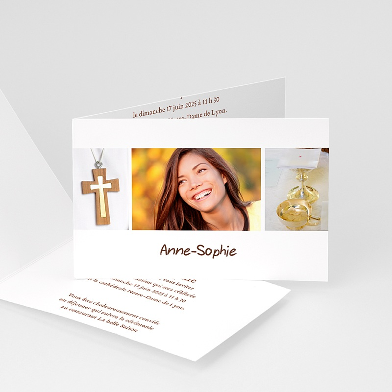 Invitation Confirmation  - Communion Fond Blanc 14662 thumb