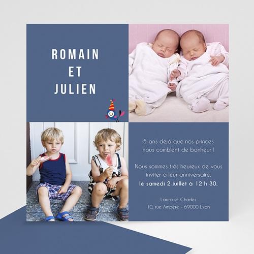 Carte invitation anniversaire garçon Jumeaux