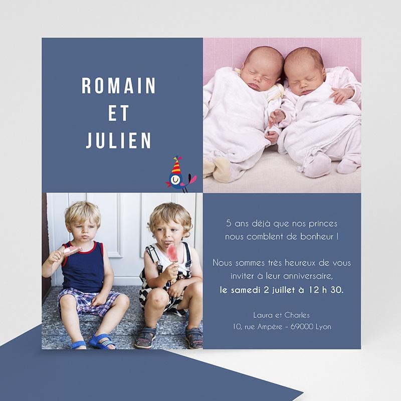 Invitation Anniversaire Garçon - Jumeaux 1470 thumb