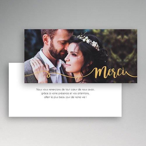 Carte Remerciement Mariage Gris d'Amour pas cher