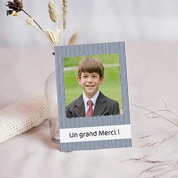 Carte remerciement communion garçon rayé de bleu personnalisé