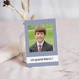 Carte remerciement communion garçon Rayé de bleu