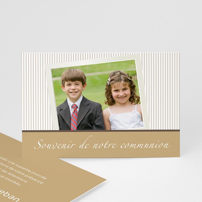 Carte Remerciement Communion Garçon Merci d'un communiant - beige