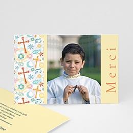 Carte remerciement communion garçon Joie colorée